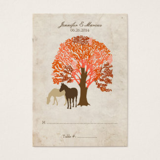 Orange and Brown Autumn Horses Business Card