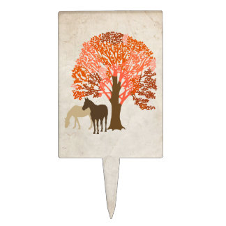 Orange and Brown Autumn Horses Cake Topper