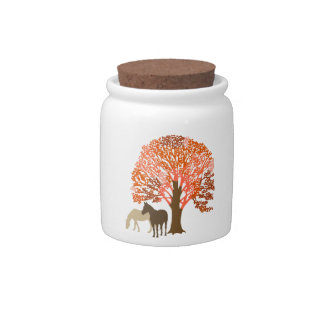 Orange and Brown Autumn Horses Candy Dish