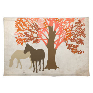 Orange and Brown Autumn Horses Cloth Placemat