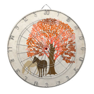 Orange and Brown Autumn Horses Dart Boards