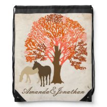 Orange and Brown Autumn Horses Drawstring Backpack
