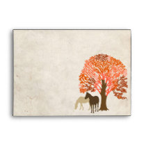 Orange and Brown Autumn Horses Envelope