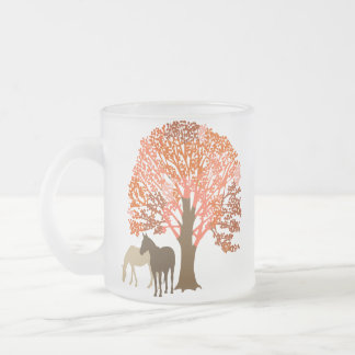 Orange and Brown Autumn Horses Frosted Glass Coffee Mug