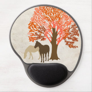 Orange and Brown Autumn Horses Gel Mouse Pad