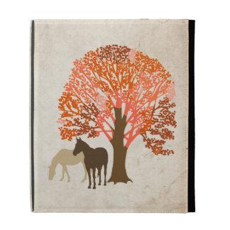 Orange and Brown Autumn Horses iPad Folio Covers
