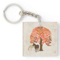 Orange and Brown Autumn Horses Keychain