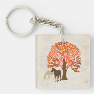 Orange and Brown Autumn Horses Keychain