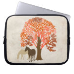 Orange and Brown Autumn Horses Laptop Computer Sleeves