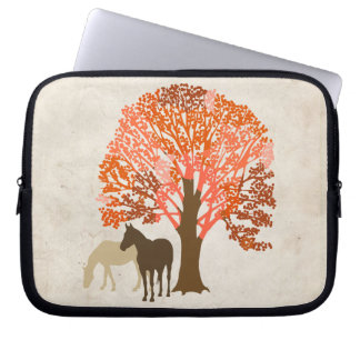 Orange and Brown Autumn Horses Laptop Sleeve