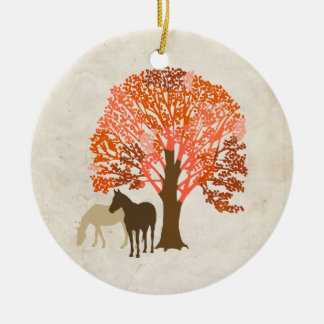 Orange and Brown Autumn Horses Christmas Tree Ornaments