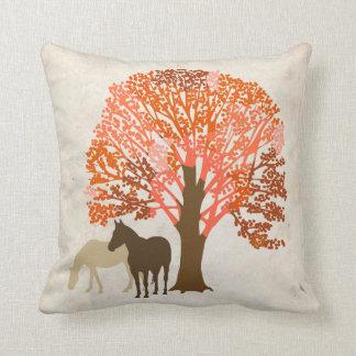 Orange and Brown Autumn Horses Throw Pillow