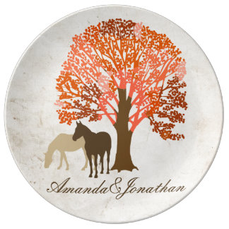 Orange and Brown Autumn Horses Porcelain Plate
