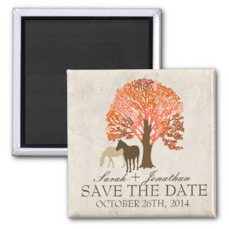 Orange and Brown Autumn Horses Save The Date 2 Inch Square Magnet