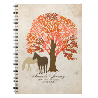 Orange and Brown Autumn Horses Spiral Notebook