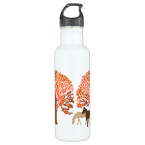 Orange and Brown Autumn Horses Stainless Steel Water Bottle