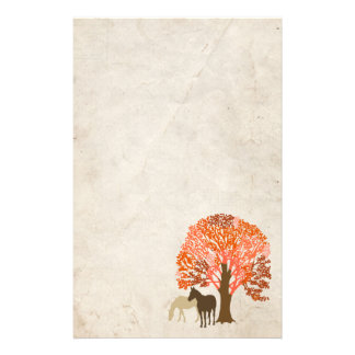 Orange and Brown Autumn Horses Stationery