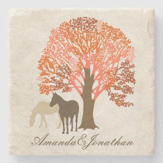 Orange and Brown Autumn Horses Stone Coaster