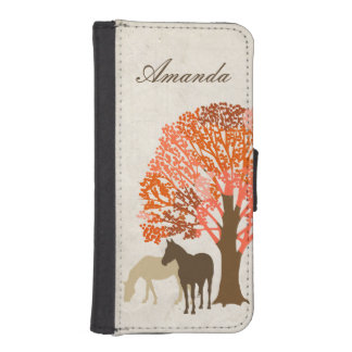 Orange and Brown Autumn Horses Wallet Phone Case For iPhone SE/5/5s