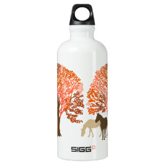 Orange and Brown Autumn Horses Water Bottle