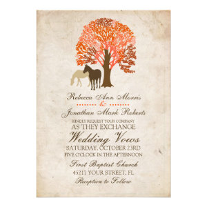 Orange and Brown Autumn Horses Wedding Invitation