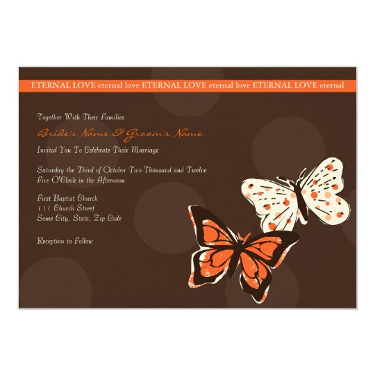 Orange and Brown Cool Butterfly Wedding Invitation