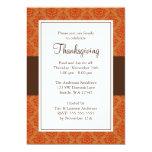 Orange and Brown Damask Thanksgiving Invitations