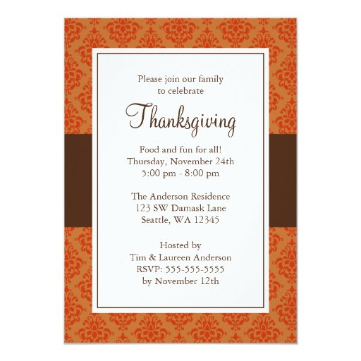 Orange and Brown Damask Thanksgiving Invitations