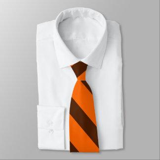 Orange and Brown Diagonally-Striped Tie