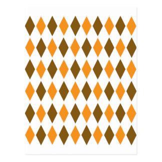 Orange and Brown Diamond Pattern Post Card