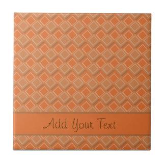 Orange and Brown Diamonds Ceramic Tile
