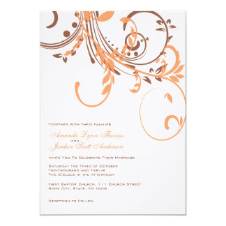 Orange and Brown Double Floral Wedding Invitation