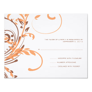 Orange and Brown Double Floral Wedding RSVP Card