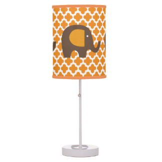 Orange and Brown Elephants Table Lamp