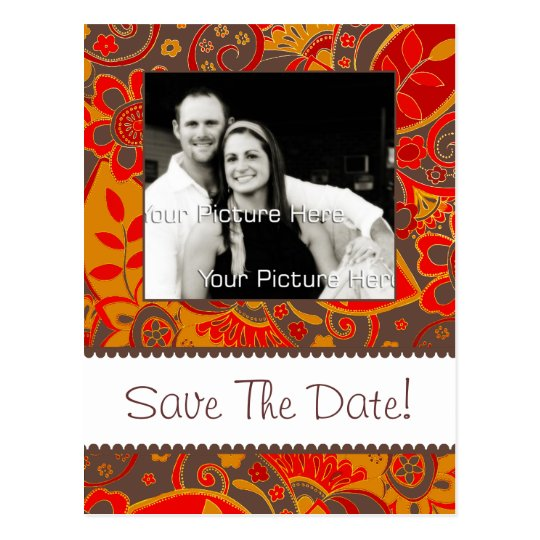 Orange and Brown Fall Floral Save The Date Postcard