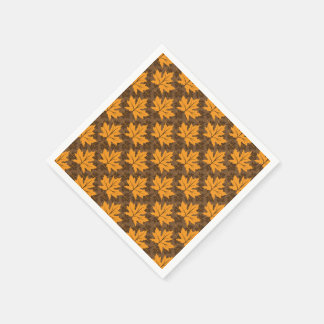 Orange and brown fall maple leaves pattern standard cocktail napkin