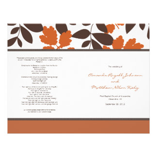 Orange and Brown Fall Wedding Program