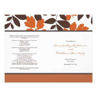 Orange and Brown Fall Wedding Program Flyer Design