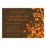Orange and Brown Floral Fall Wedding Invitation