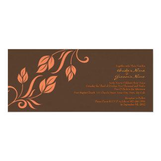 Orange and Brown Floral Leaves Wedding Invitation