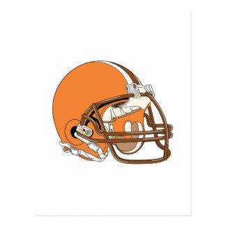 Orange and brown football helmet postcard