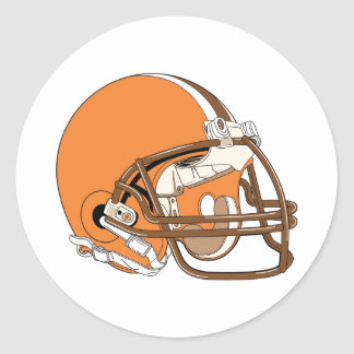 Orange and brown football helmet classic round sticker