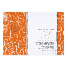 Orange and Brown Grunge Hearts Invitations