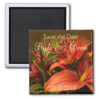 Orange and Brown Lily Save-The-Date Magnet
