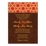 "Orange and Brown Monogram Wedding H665 5"" X 7"" Invitation Card"