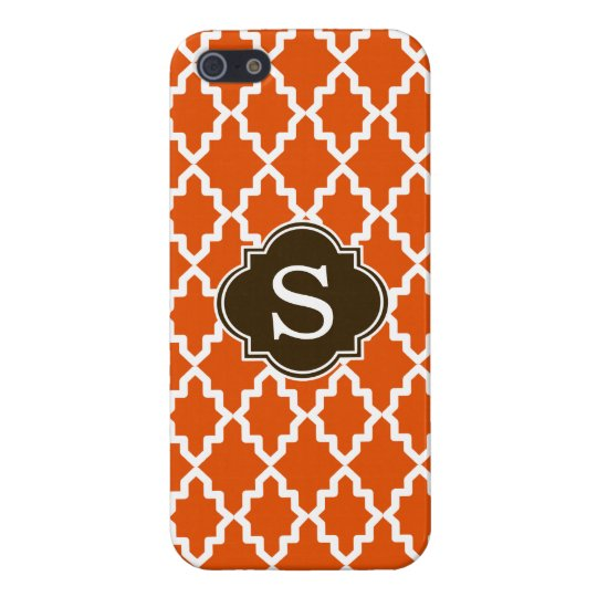 Orange and Brown Moroccan Monogram iPhone SE/5/5s Cover