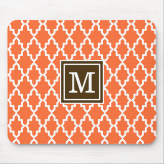 Orange and Brown Moroccan Monogram Mouse Pad