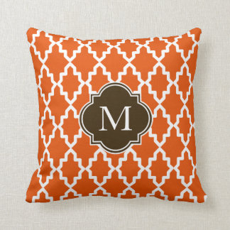 Orange and Brown Moroccan Monogram Throw Pillow