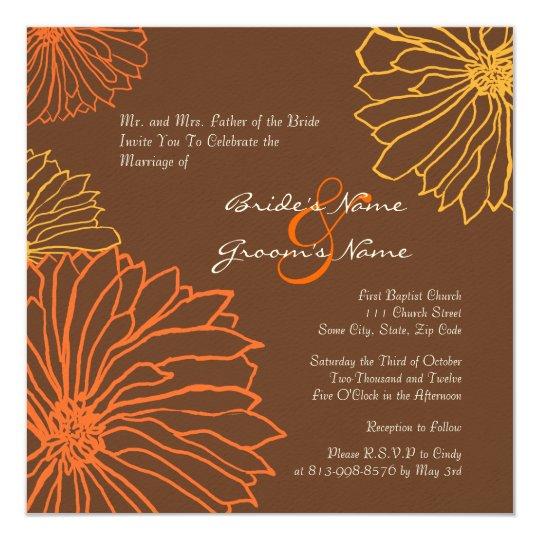 Orange and Brown Mum Flowers Wedding Invitation