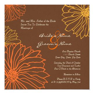 "Orange and Brown Mum Flowers Wedding Invitation 5.25"" Square Invitation Card"